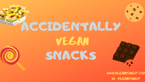 accidentally vegan snacks uk blog post cover image